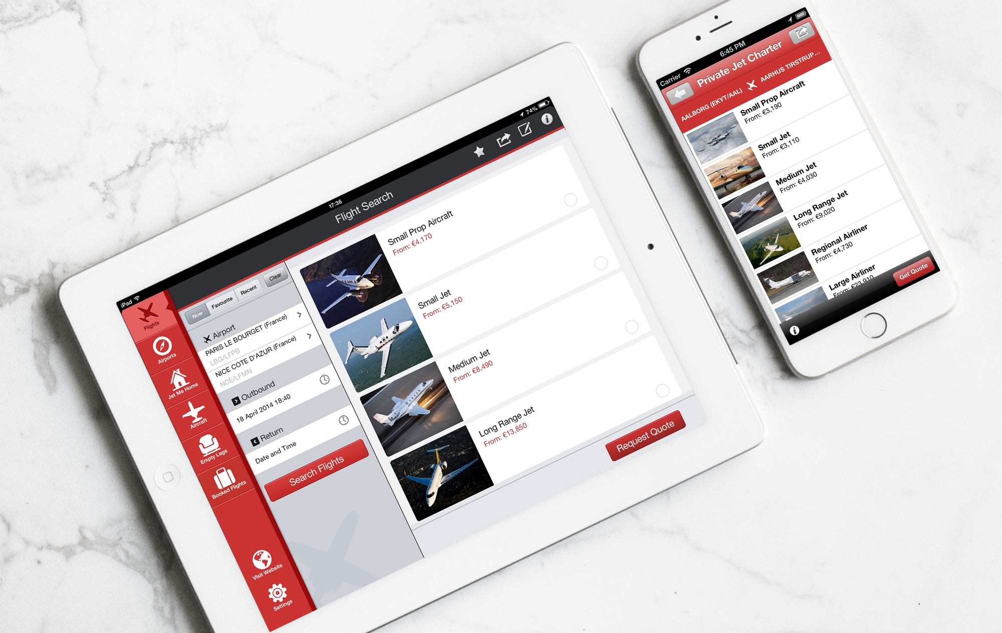 mobile and tablet PrivateFly app